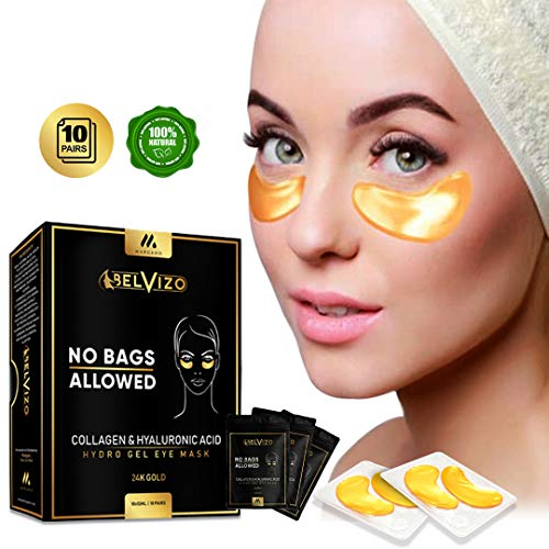 Belvizo Under Eye Mask, 24K Gold w/Hyaluronic Acid + Plant Collagen, Soy Protein, Grapefruit Extract For Anti Dark Circles, Eye Bags, Puffiness, Anti Wrinkle |Hydro Gel Under Eye Patches. 10 Units