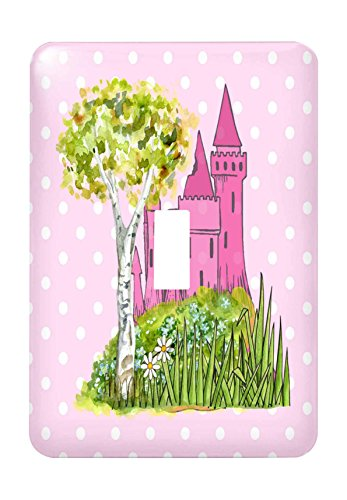 3dRose lsp_224334_1 Image of Princess Castle With Tree On Pink Dots Single Toggle Switch