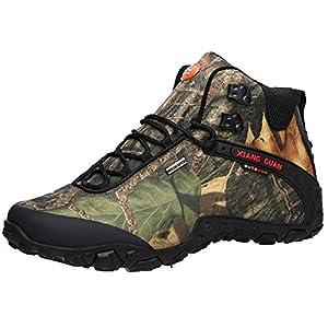 XIANG GUAN Men's Outdoor High-Top Camouflage Water Resistant Trekking Hiking Boots Black 10