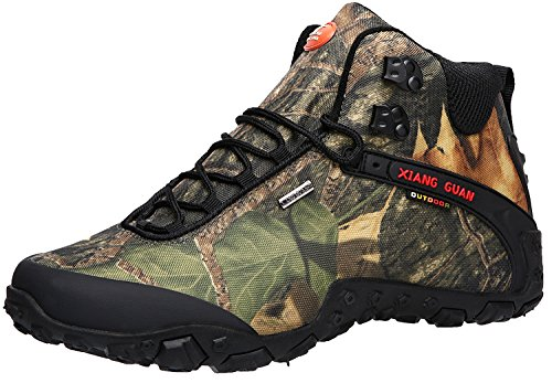 XIANG GUAN Men's Outdoor High-Top Camouflage Water Resistant Trekking Hiking Boots Black 8.5 by XIANG GUAN