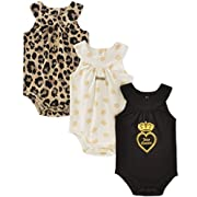 Juicy Couture Baby Girls 3 Packs Bodysuit, Vanilla/Black/Gold, 3-6 Months