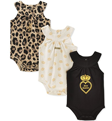 (Juicy Couture Baby Girls 3 Packs Bodysuit, Vanilla/Black/Gold, 0-3 Months)