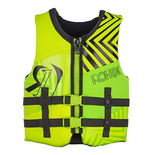 Vest Zip Front (Ronix Vision Boy's Front ZIp CGA Vest Youth (Lime/GP Yellow) Kid's Life Jacket)