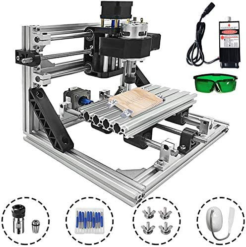 Mophorn CNC Machine 1610 Grbl Control Cnc Router Kit 3 Axis Pcb Laser Engraver 160X100X40MM With 500mW Laser Head Module and Lamp