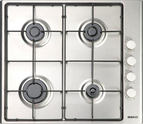 Int/égr/é, Cuisini/ère /à gaz, Acier inoxydable, Acier inoxydable, Fonte, 1000 W Beko HIZG 64120 SX plaque Int/égr/é Cuisini/ère /à gaz Acier inoxydable Plaques