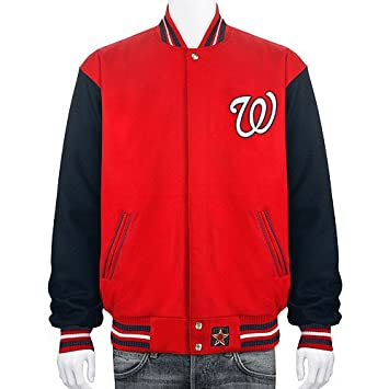 Washington Nationals Wool Nylon Reversible Varsity Jacket