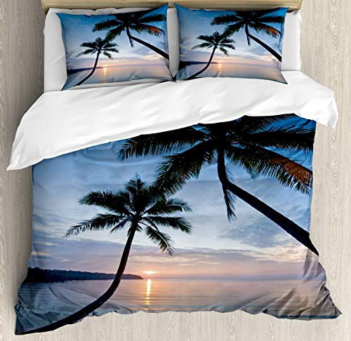 Ambesonne Tropical Duvet Cover Set, Sunset Over Ocean Calm Exotic Beach in Kut Island Thailand Summertime, Decorative 3 Piece Bedding Set with 2 Pillow Shams, Queen Size, Pink Black