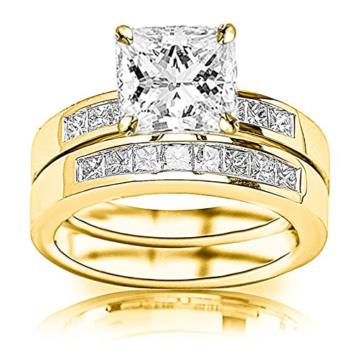 1.6 Carat t.w. GIA Certified Princess Cut 14K Yellow Gold Classic Channel Set Princess Cut Diamond Engagement Ring and Wedding Band Set (I-J Color VS1-VS2 Clarity Center Stones)