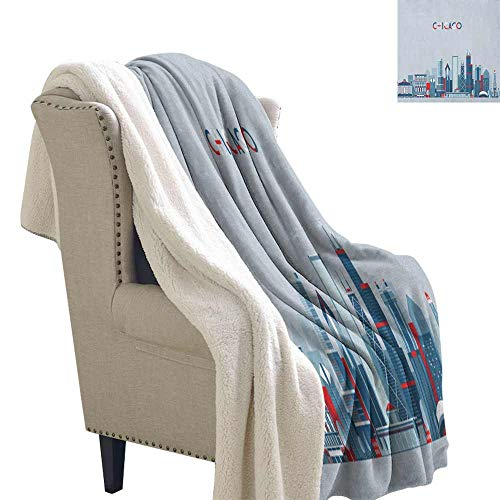 Cheap Willsd Chicago Skyline Cashmere Velvet Urban Silhouette Business Town with Famous Architecture Graphic Art for Family and Friends Weighted Blanket Blue Baby Blue Red W59 x L78 Black Friday & Cyber Monday 2019