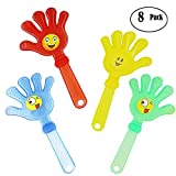 Hooleep Plastic Hand Clappers, 8 Pack 11'' Clear Big Noisemakers Party Favors for Kids Toy, Contest Cheered, Vocal Concert - Assorted Colors