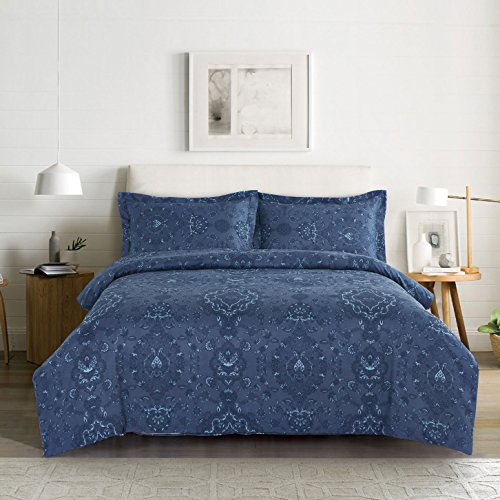 Navy Blue Duvet Cover Set, Damask Victorian European Paisley Pattern Printed, Soft Microfiber Bedding with Zipper Closure (3pcs, Queen Size) (Bedding Damask Blue)