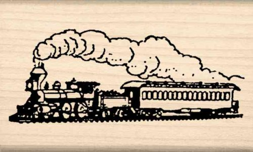Steam train Rubber Stamp  1-1/2 inches x 2-1/2 inches