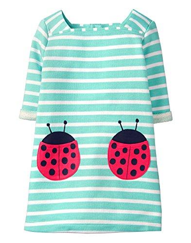 Gymboree Girls' Toddler 3/4 Sleeve French Terry Sheath Dress, Lady Bug Stripe -