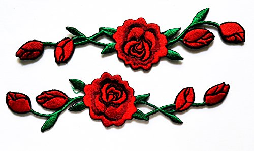 HHO Red Rose Flower Vines Embroidery Applique patch Beautiful Flowers Patch for Bags Jackets Jeans Clothes or Gift ()