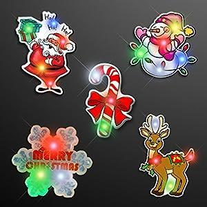 Amazon.com: Assorted Christmas Light Up LED Lapel Pins (Set of 25 ...