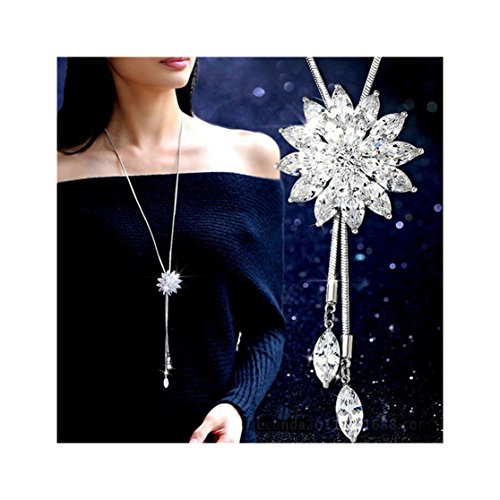 Shoopic Crystal Tassel Pearl Snowflake Pendant Necklace Long Sweater Necklace for Women Girls