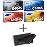 Samsung Part# CLT-K404S CLT-C404S CLT-Y404S CLT-M404S Toner Cartridge Set + DeluxeDealsTM MicroFiber LCD Screen Cleaning Cloth