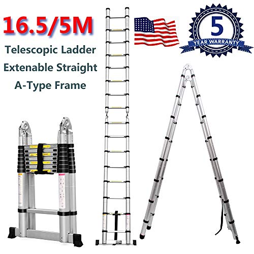 Yiya Aluminum Telescopic Extension Ladder 16.5FT/5M, A-Type Frame Telescoping Ladder or Non-Slip Straight Ladder 330LBS Capacity 16 Steps