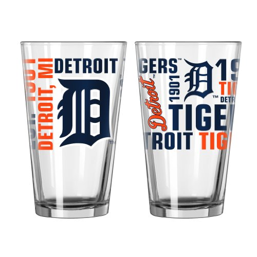 Boelter Brands MLB Detroit Tigers Spirit Pint Glass Set (Pack of 2), 16-Ounce