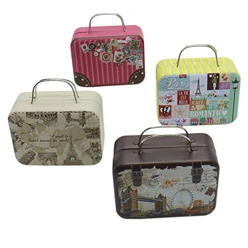 RTNOW 4pcs Mini Small Iron Vintage Cartoon Tin Box Suitcase Handbag Small Rectangular Candy Box Tin Container Jewelry Coin (Mini Suitcase)