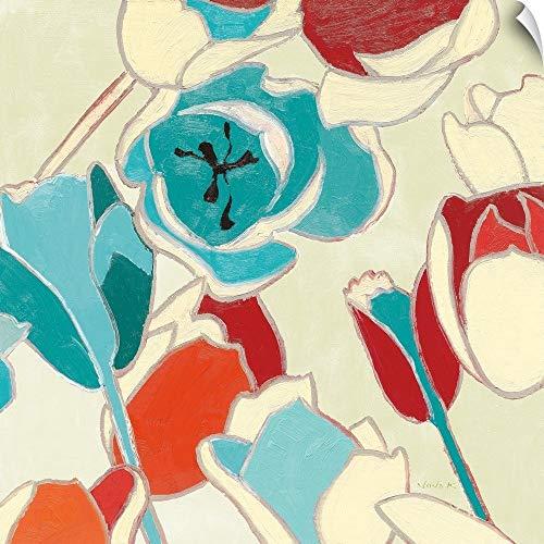 (CANVAS ON DEMAND Cloisonne Tulipe I Turquoise Vignette Wall Peel Art Print, 30