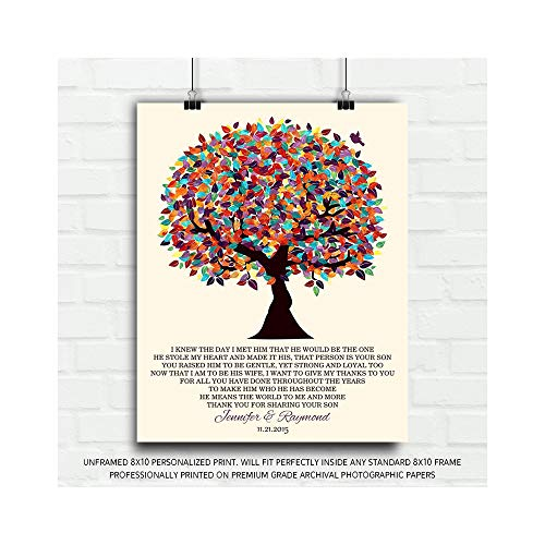 8x10 Unframed Personalized Mother of Groom Gift For Parents of Groom From Bride I Knew The Day I Met Him Colorful Fruit Wedding Poem Tree Birthday Thank You Custom Art Print