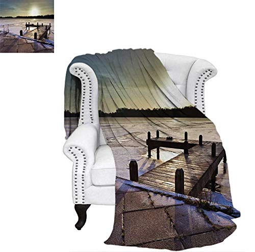 (Custom Design Cozy Flannel Blanket Sunrise Above a Jetty on a Frozen Winter Lake with Ice and Snow Netherlands Holland Lightweight Blanket 62