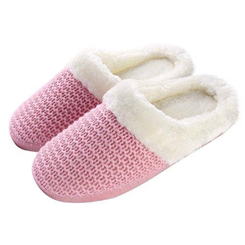 Woven House Warm Winter Slip Aerusi Bedroom Knit On Cozy Slipper Pink Women's Plush xXwqnETZ