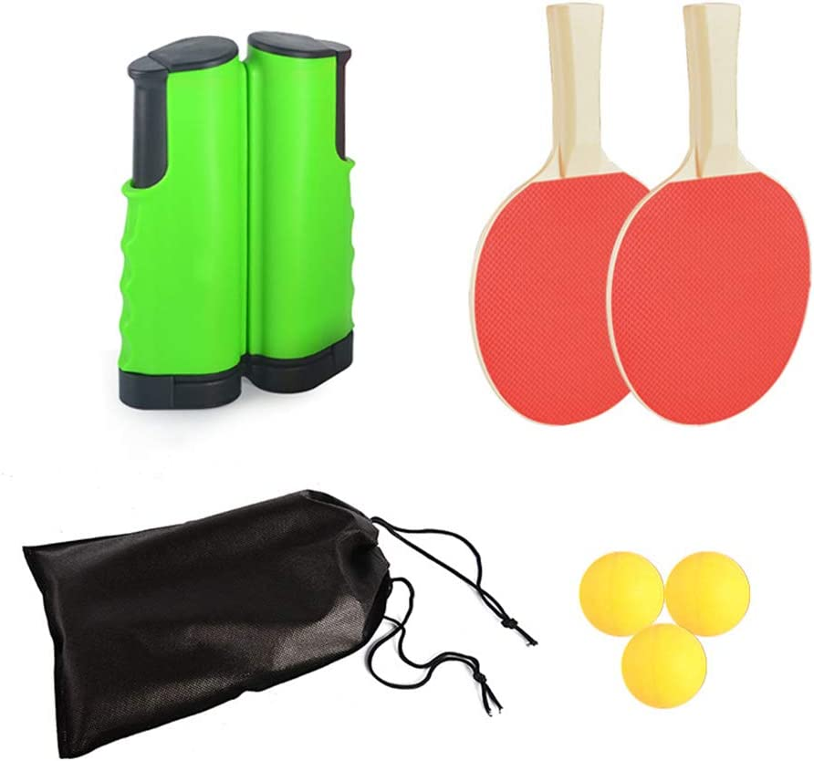 AMZTP Set Ping Pong Raquetas Y Red Portatil, con Mini Postes Extensibles Bates Portátiles Bolas De Ping Pong Juego De Paleta Accesorios De Entrenamiento