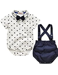 Fairy Baby Baby Boys Gentleman Short Sleeve Romper Shirt Suspender Shorts Outfit Sets