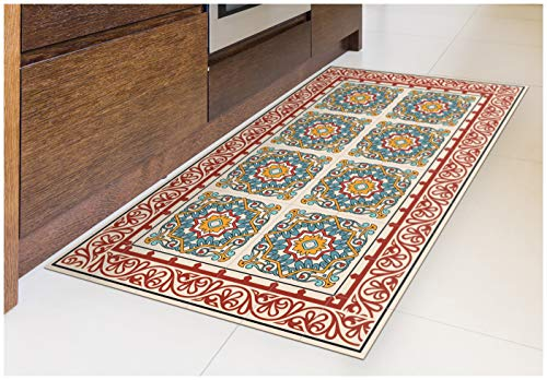 Tiva Design Barcelona RED Vinyl Floor Mat: Decorative Linoleum PVC Rug Runner Tile Flooring in 12 Choices, Colorful, Durable, Anti-Slip, Hand Washable, and Protects Floors 39.3