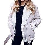HTHJSCO Womens Fleece Open Front Coat, Women's Casual Jacket Winter Warm Parka Outwear with Pocket Overcoat