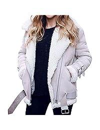 Amzeca Women Faux Suede Warm Jacket Zipper Up Front Coats Outwear Pockets