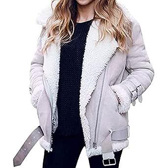LUCKYCAT Abrigo de Lana de Piel sintética de Las Mujeres de Invierno Outwear cálido Chaqueta de Solapa Cuero Moto Cazadoras Corta Chaqueta con Cremallera: Amazon.es: Ropa y accesorios
