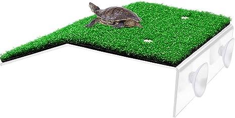 Tortoise Basking Platform Reptile Ramp Ladder Lifelike Turf Resting Terrace for Aquarium Fish Tank Landscape Habitat Decor Green-S