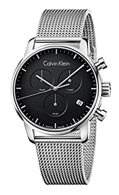 CALVIN KLEIN K2G27121 Mens CITY Swiss Made Chronograph Milanese Watch w/ Date