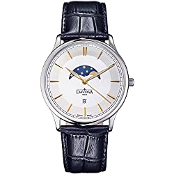 Davosa Swiss Made Quartz Movement Men's Leather Strap Wrist Analog Watch Flatline Phase of Moon 16249635