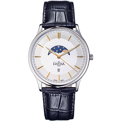 Davosa Swiss Made Quartz Watch - Analog Movement Watch Professional Flatline Phase of Moon with Leather Strap Band - Moon Watch Face