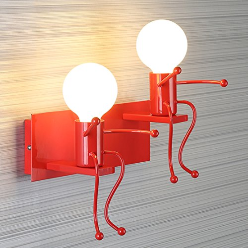 - SOUTHPO LED Wall Light Fixtures Creative Cartoon Staggered Double Little People Wall Lamps Bedroom Living Room Modern Decor Metal Bedside Lamp Children Gift Mini Wall Sconces Lighting 2×E26 (Red)