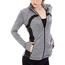 icyzone Women's Stretch Running Workout Yoga Full Zip Jacket with Thumb Holes (M, Gray Melange)