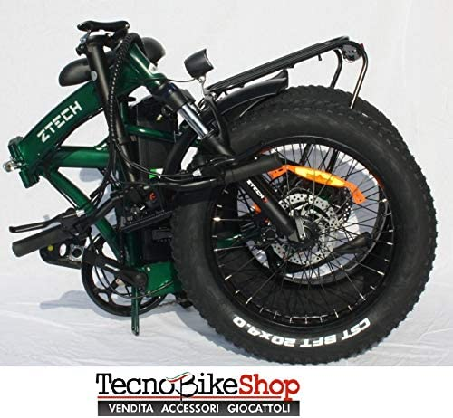 Tecnobike Shop - Bicicleta eléctrica Plegable, Vital, 250 W, 36 V, Cuadro Curvado, Verde: Amazon.es: Deportes y aire libre