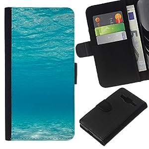 KLONGSHOP // Tirón de la caja Cartera de cuero con ranuras para tarjetas - Océano azul - Samsung Galaxy Core Prime //