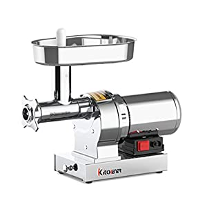 KITCHENER ELITE Stainless Steel #8 1/2 HP Electric Meat Grinder Super Heavy Duty 480 LBS Per/Hr 370 Watts Commercial Grade Stainless Steel Cutlery Feeding Tray Neck & Body