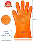 Heat Resistant Kitchen Cooking Premium Glove Set | Best Quality Design Stain & Slip Resistant Silicon Gloves | Waterproof | Mitts for Oven Baking, Grill & BBQ | Orange