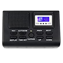 Mengshen 8GB Mini Digital Telephone Voice Recorder/ Professional Phone Call Monitor/ Telephone Logger with Blue LCD Display Support SD Card Clock function MS-K10F