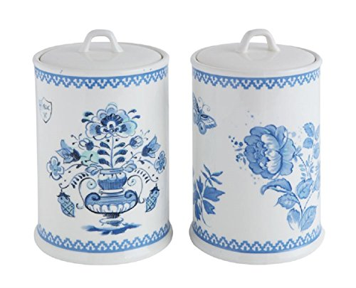 - Creative Co-Op Stoneware Canister Set, Blue & White, 2 Styles