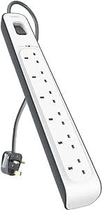 Belkin BSV603af2M 6 Way/ 6 Plug 2m Surge Protection Extension Lead Strip - White