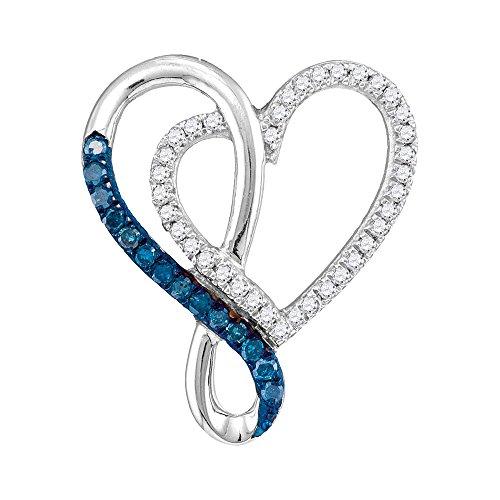 10k White Gold Blue Diamond Heart Infinity Pendant Love Knot Chain Fashion Curve Style Fancy 1/4 Cttw