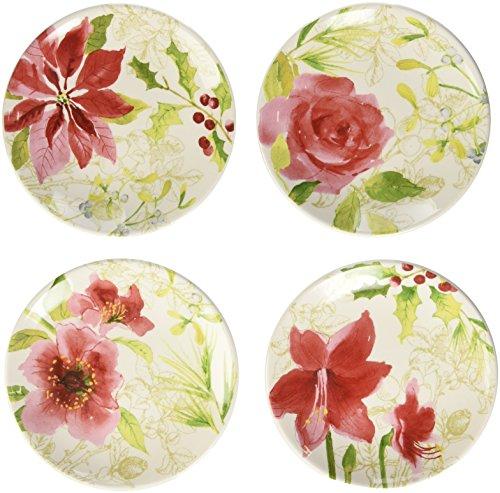Paula Deen Signature Dinnerware Holiday Floral 4-Piece Dessert Plate Set, Print