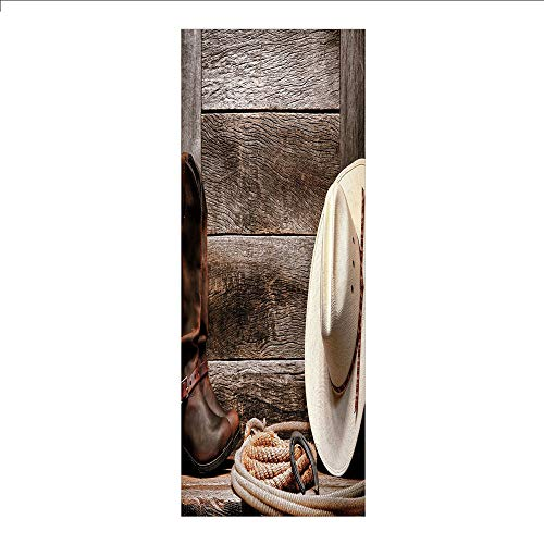 3D Decorative Film Privacy Window Film No Glue,Western,Authentic American Rodeo Items Lasso Hat Boots Horseshoe Rustic Wooden House Decorative,Brown Cream Tan,for Home&Office ()